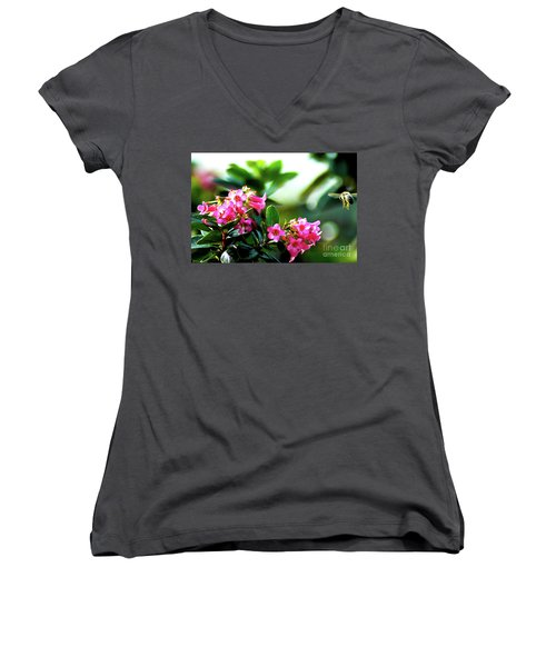 Women's V-Neck T-Shirt (Junior Cut) featuring the photograph Bee In Flight by Micah May