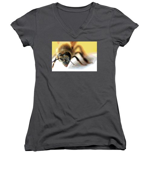 Women's V-Neck T-Shirt (Junior Cut) featuring the photograph Bee In Macro 5 by Micah May