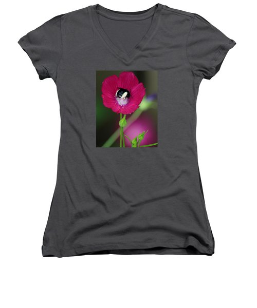 Women's V-Neck T-Shirt (Junior Cut) featuring the photograph Bee My Guest by Elizabeth Sullivan