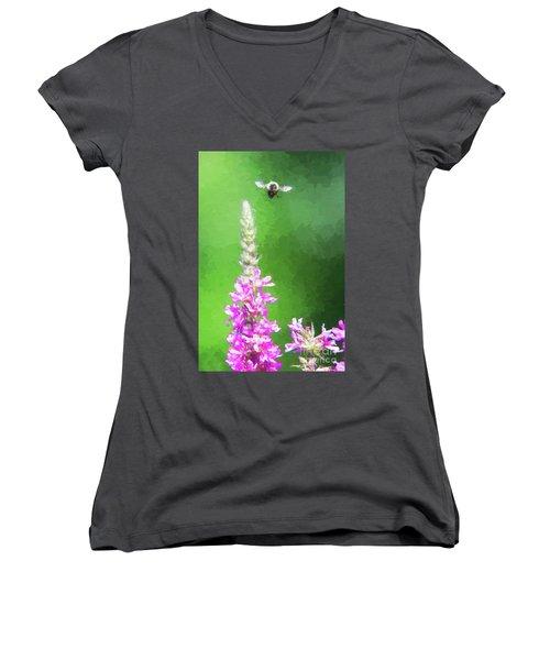 Bee Over Flowers Women's V-Neck