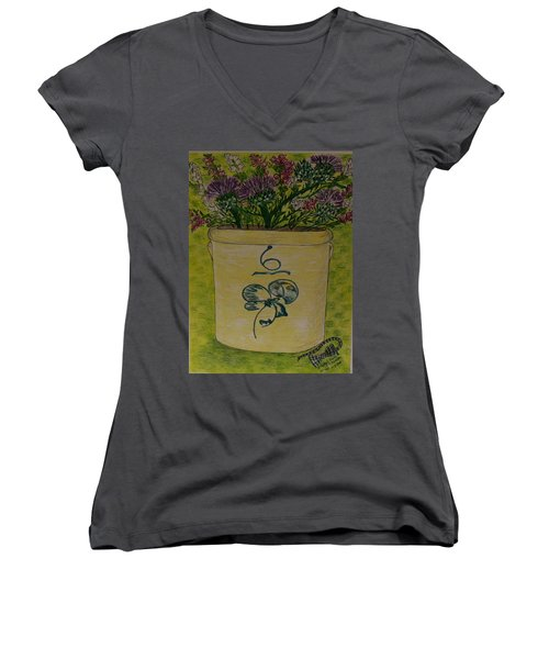 Women's V-Neck T-Shirt (Junior Cut) featuring the painting Bee Sting Crock With Good Luck Bow Heather And Thistles by Kathy Marrs Chandler
