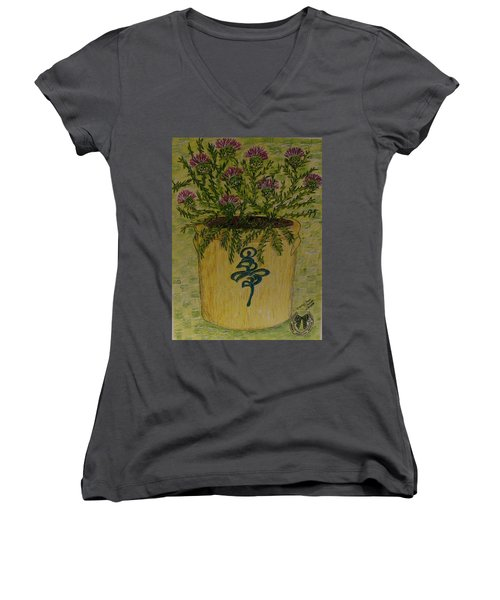 Women's V-Neck T-Shirt (Junior Cut) featuring the painting Bee Sting Crock With Good Luck Horseshoe by Kathy Marrs Chandler