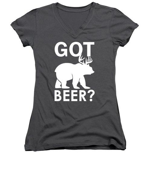 Beer? Women's V-Neck T-Shirt (Junior Cut) by Otis Porritt