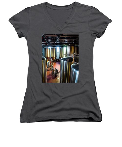 Women's V-Neck T-Shirt (Junior Cut) featuring the photograph Beer Vats by Linda Unger