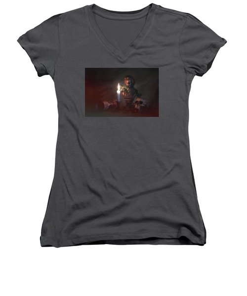 Women's V-Neck T-Shirt (Junior Cut) featuring the photograph Beethoven By Candlelight by Tom Mc Nemar