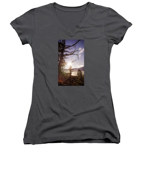 Before Sunset Women's V-Neck T-Shirt (Junior Cut) by Michele Cornelius