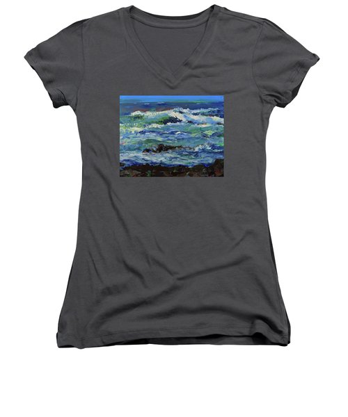 Women's V-Neck T-Shirt featuring the painting Beginning Of A Storm by Walter Fahmy