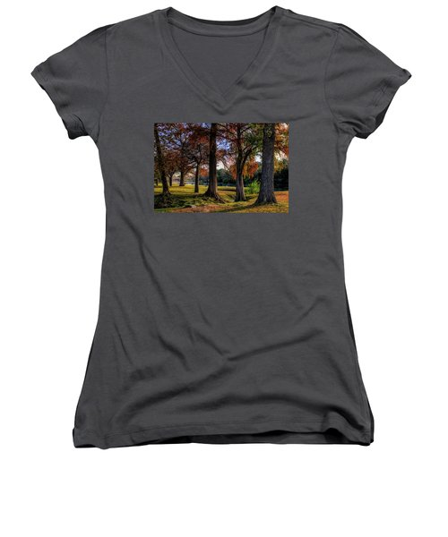 Beginning Of Fall In Texas Women's V-Neck