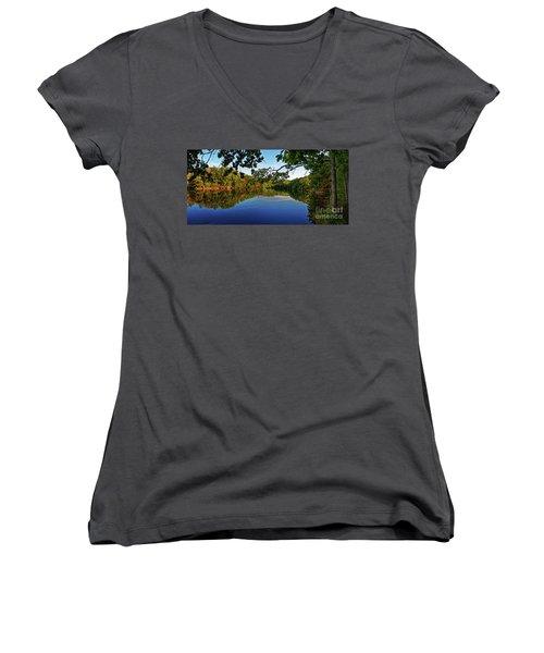 Beginning To Look Like Fall Women's V-Neck T-Shirt (Junior Cut) by Paul Mashburn