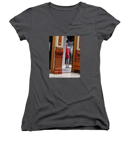 Behind Doors Women's V-Neck T-Shirt (Junior Cut) by Anna Yurasovsky