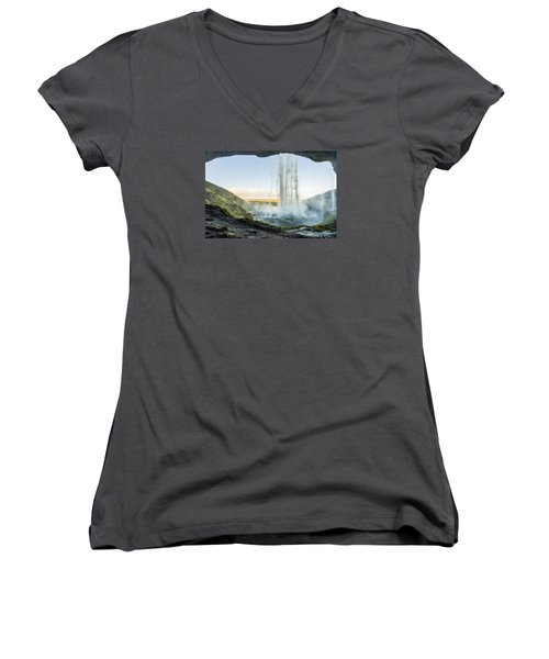 Women's V-Neck featuring the photograph Behind Seljalandsfoss by James Billings