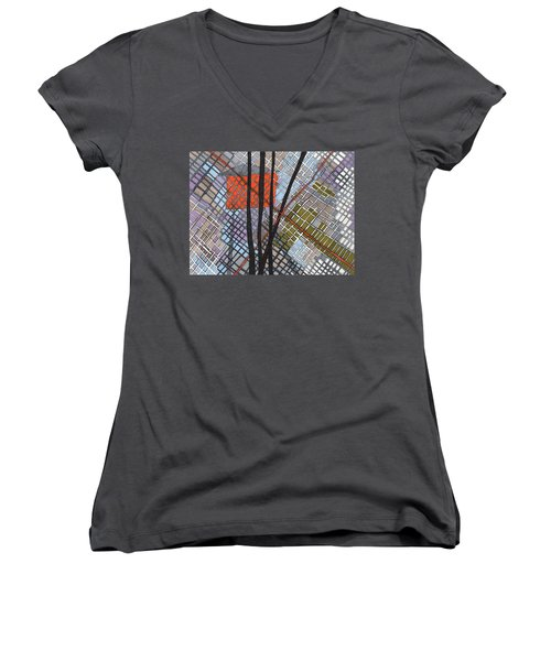 Behind The Fence Women's V-Neck T-Shirt (Junior Cut) by Sandra Church