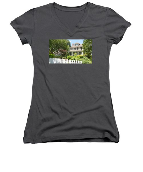 Women's V-Neck T-Shirt featuring the photograph Behind The Picket Fence by Charles Kraus