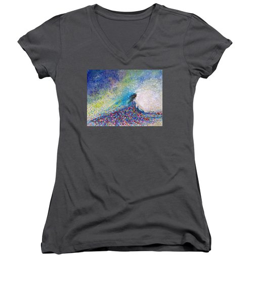 Being A Woman - #5 In A Daydream Women's V-Neck (Athletic Fit)