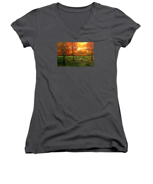 Being Thankful Women's V-Neck T-Shirt (Junior Cut) by Lisa Aerts