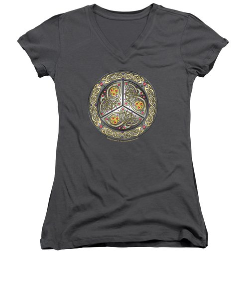 Women's V-Neck T-Shirt (Junior Cut) featuring the mixed media Bejeweled Celtic Shield by Kristen Fox