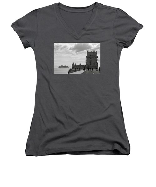Women's V-Neck T-Shirt (Junior Cut) featuring the photograph Belem And The Boat by Lorraine Devon Wilke
