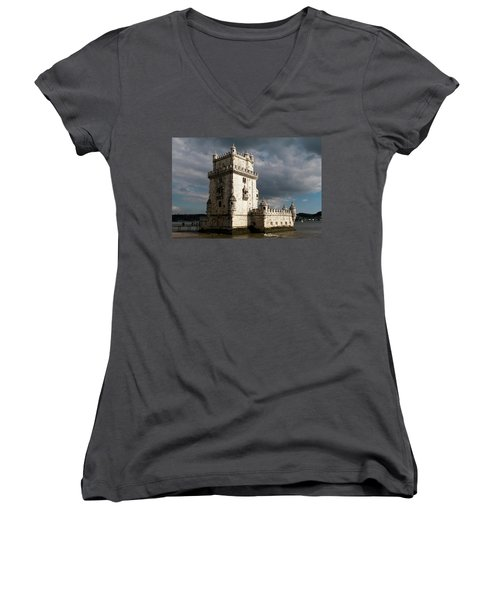 Women's V-Neck featuring the photograph Belem Tower In Color by Lorraine Devon Wilke