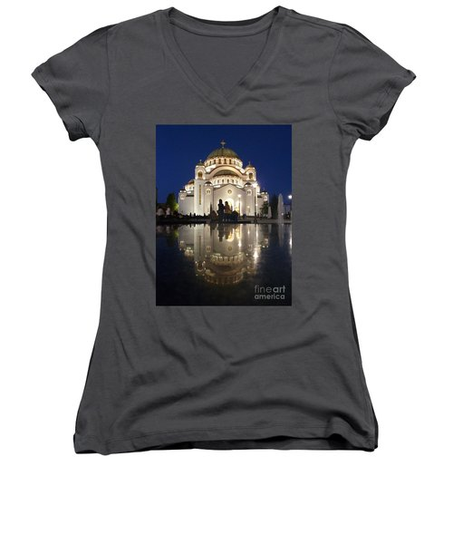 Women's V-Neck T-Shirt (Junior Cut) featuring the photograph Belgrade Serbia Orthodox Cathedral Of Saint Sava  by Danica Radman