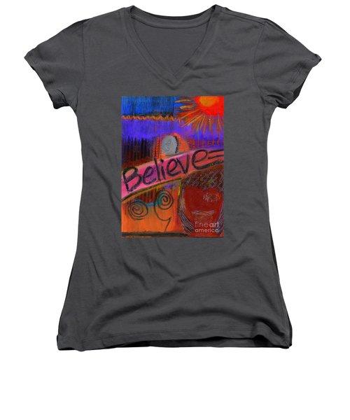 Believe Conceive Achieve Women's V-Neck T-Shirt (Junior Cut) by Angela L Walker