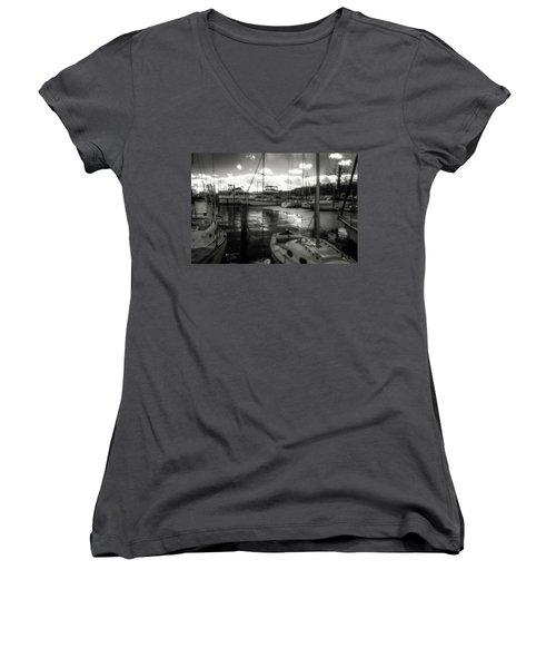 Bell Haven Docks Women's V-Neck T-Shirt (Junior Cut) by Paul Seymour