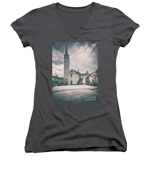 Women's V-Neck T-Shirt featuring the photograph Bell Tower In Italian Village by Silvia Ganora