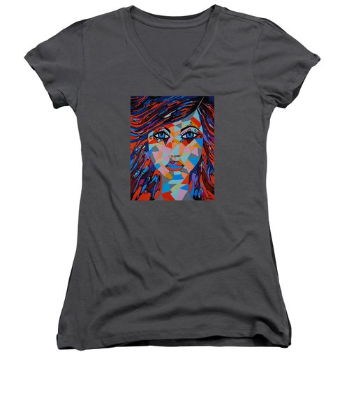 Women's V-Neck T-Shirt (Junior Cut) featuring the painting Bella by Kathleen Sartoris