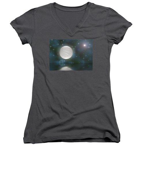 Women's V-Neck T-Shirt featuring the digital art Bella Luna by Wendy J St Christopher