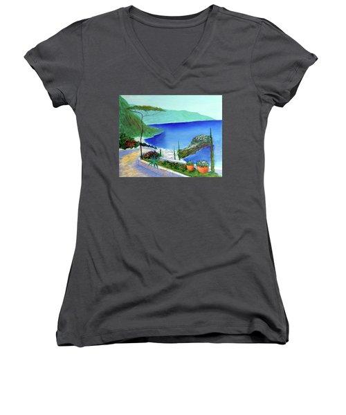 Bella Monaco  Women's V-Neck T-Shirt (Junior Cut) by Larry Cirigliano
