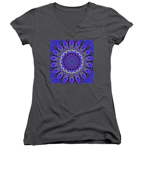 Women's V-Neck T-Shirt featuring the digital art Bella - Purple by Wendy J St Christopher
