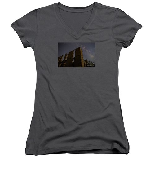 Women's V-Neck T-Shirt (Junior Cut) featuring the photograph Belle Plain College - Texas by Keith Kapple