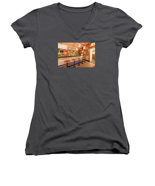 Women's V-Neck T-Shirt (Junior Cut) featuring the photograph Bellows Falls Diner by Tom Singleton