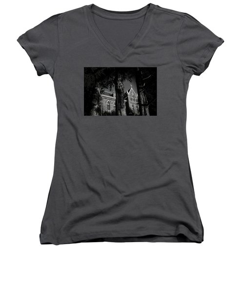 Belmont Abbey Women's V-Neck T-Shirt (Junior Cut) by Jessica Brawley