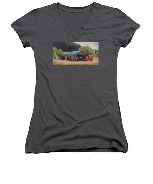Below Taos 2 Women's V-Neck T-Shirt (Junior Cut) by Donelli  DiMaria