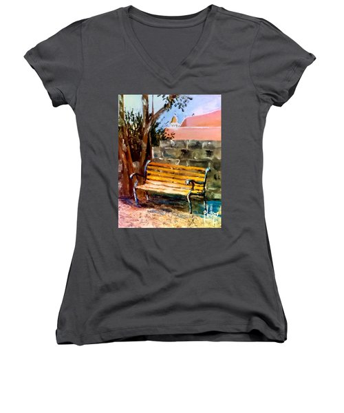 Women's V-Neck T-Shirt (Junior Cut) featuring the painting Bench At Waterfront Park by Jim Phillips