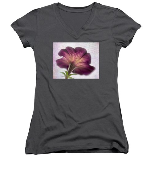 Women's V-Neck T-Shirt (Junior Cut) featuring the photograph Beneath A Dreamy Petunia by David and Carol Kelly