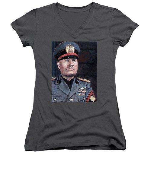 Benito Mussolini Color Portrait Circa 1935 Women's V-Neck
