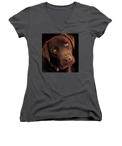 Women's V-Neck T-Shirt featuring the photograph Benji by Wallaroo Images