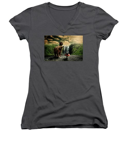Women's V-Neck T-Shirt (Junior Cut) featuring the digital art Berlin Bear by Nathan Wright