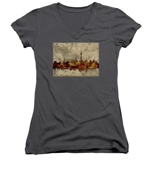 Berlin City Skyline Vintage Women's V-Neck T-Shirt (Junior Cut) by Bekim Art