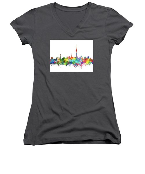 Berlin City Skyline Watercolor Women's V-Neck T-Shirt (Junior Cut) by Bekim Art