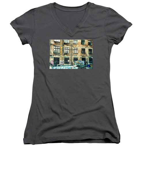 Berlin House Wall With Graffiti  Women's V-Neck (Athletic Fit)