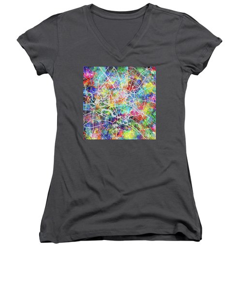 Berlin Map Watercolor Women's V-Neck T-Shirt (Junior Cut) by Bekim Art