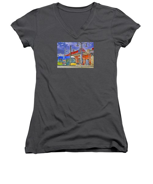 Berlin Transit Hub Women's V-Neck T-Shirt (Junior Cut) by Dennis Cox WorldViews