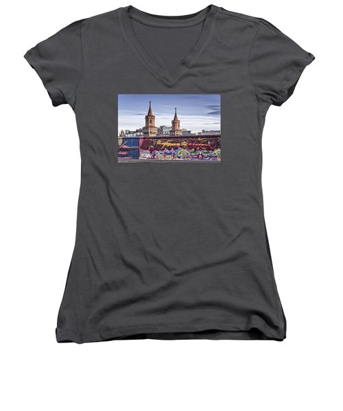 Women's V-Neck featuring the photograph Berlin Wall by Juergen Held
