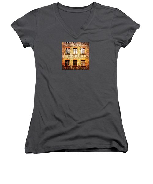 Women's V-Neck T-Shirt featuring the photograph Bermondsey Mesh And Wire Works by Anne Kotan