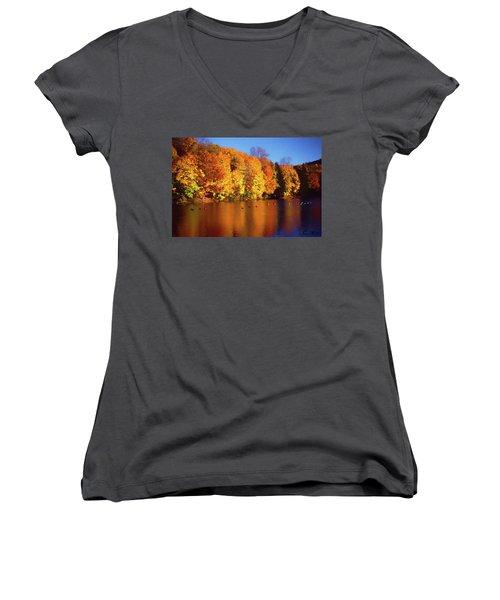 Bernharts Dam Fall 008 Women's V-Neck T-Shirt (Junior Cut) by Scott McAllister