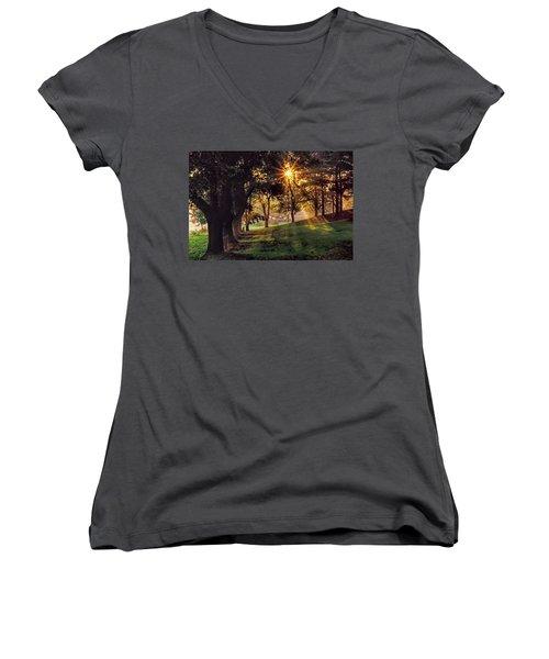 Bernharts Dam Fog 001 Women's V-Neck T-Shirt (Junior Cut) by Scott McAllister