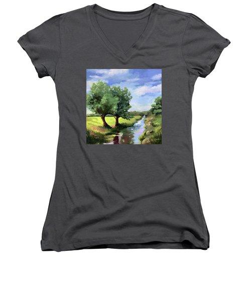 Beside The Creek - Original Rural Landscape  Women's V-Neck (Athletic Fit)