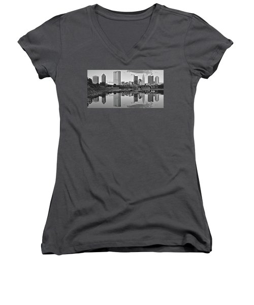 Women's V-Neck T-Shirt (Junior Cut) featuring the photograph Best Columbus Black And White by Frozen in Time Fine Art Photography